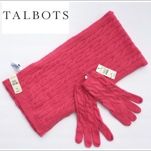 🆕 TALBOTS Lambswool Blend Cable Knit Scarf Gloves